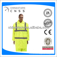 hi-vis reflective long raincoat