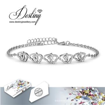 Destino joias cristais de Swarovski doce ama pulseira