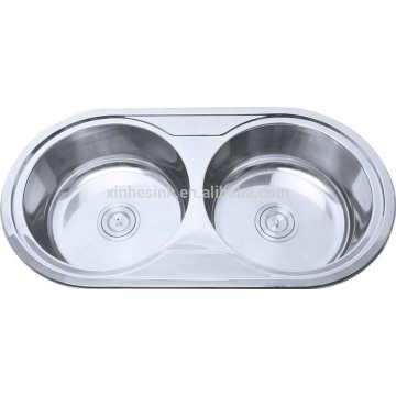 fregadero de cocina redondo del doble del cuenco del acero inoxidable del precio del lavabo