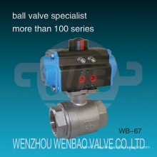 Válvula de bola BSPT AISI316 accionada neumática de dos piezas