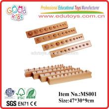 De alta calidad Beechwood Knobbed Cilindros Montessori Materiales Juguete de madera juguetes de enseñanza para los niños