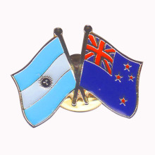 New Fashion Design for Cross Flag Pins Argentina&New Zealand Crossed Enamel Lapel Pin supply to Japan Suppliers