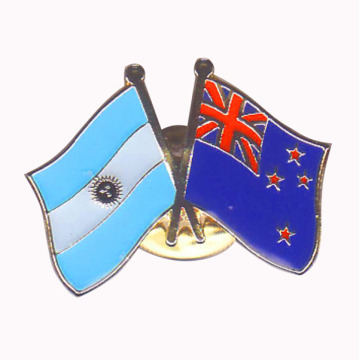Argentina & New Zealand melintasi Pin Enamel Lapel