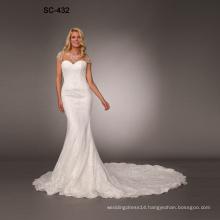 New fashion lady luxurious lace long sleeve tail wedding dress 2019