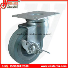 3 Inch Gray Rubber Swivel Caster with Side Brake
