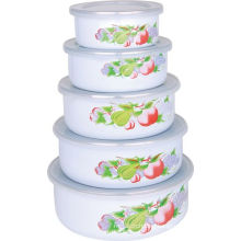 5PCS Enamel Storage Bowl Set 10-18cm