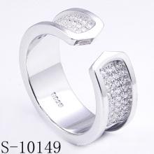 Personalizado micro ajuste de zircônia 925 anel de prata (s-10149)