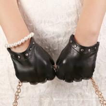 New Arrival Inverno clássico Black Sheep Couro moda vestido luva