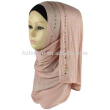 Atacado moda mulheres usam cabeça novo padrão cachecol xale de pedra estiramento jersey hijab