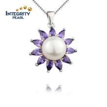 Romantische lila Anhänger Sun Flower Form Anhänger 10mm Hochzeit Damen Perle Anhänger