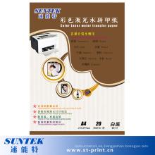 Color blanco agua diapositiva calcomanía de papel impresión láser