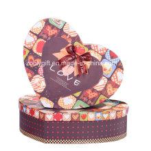Hearted forma de papel de impresión de regalo cajas de embalaje con cinta