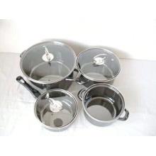 cookware do esmalte da cara do espelho do thomas rosenthal do preto que mistura com a tampa de vidro