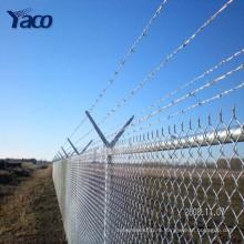 сверху колючей проволокой используются цепи ссылка забор панели размещать на дом