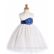Niños 2-12 Años De Moda Fiesta De Bebé Blanco Tulle Y Larga Bola Ruffle Flower Girl Vestidos Patrón Niños Fiesta LF03
