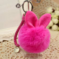 Hot Sales Custom Cute Rabbit Fur Ball Plush Keyring