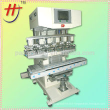 glass bottle printing machine, high precise 6 colors pad printer with conveyor