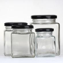 Food Packaging Glass Jars, Glass Honey Jars with Metal Lids, Square Glass Honey Jar