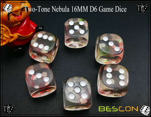 Two-Tone Nebula 16MM D6 Game Dice-5