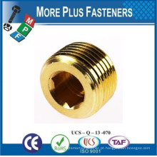 Feito em Taiwan Copper Socket ou Square Recessed Taper Pressure Pipe Plug