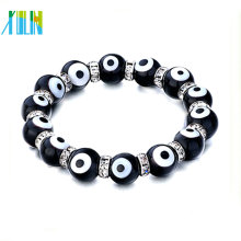 2014 black evil eye beads with clear crystal rhinestone bracelet