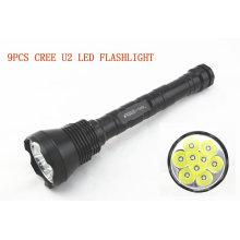 Lanterna elétrica recarregável do CREE U2 LED 1200m 3000lm 18650 de 9PCS