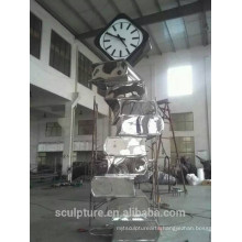 Large Modern Famous Arts Abstract Stainless steel Book and Clock Sculpture for Garden decoration