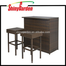 Rattan Bar Set Patio Outdoor Backyard Table y 2 taburetes