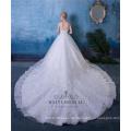 Elegante weiße Brautkleider Spitze Saum lange Zug Brautkleider mit Perlen und Kristall