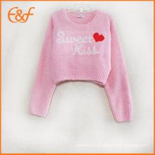 Новое Прибытие Мода Вязаный Узор Короткие Свитера Для Девочек