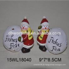 Boneco de neve de cerâmica e bola de neve branca para 2016 decoração de Natal