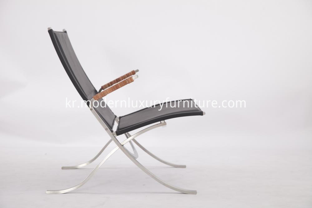 Leather And Steel Lounge Chair