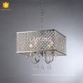 Moderne chambre carrée lustre pendentif lumière argent cristal maison éclairage