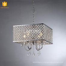 Самомоднейшая квадратная спальня люстра подвесной светильник серебряный кристалл домашнего освещения
