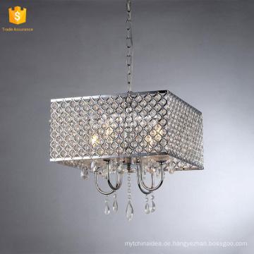 Moderne quadratische Schlafzimmer Kronleuchter Pendelleuchte Silber Kristall Hause Beleuchtung