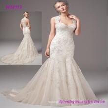 Vestido de novia expreso por encargo de la gasa de la sirena Puffy por encargo hermoso