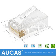 Taiwan Manufacture RJ45 8P8C Cat5e UTP Gold Plated Modular Plug for Stranded and Solid Cable