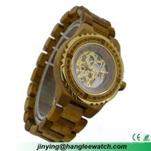 Relógio de madeira do relógio mecânico de madeira de aço novo do OEM da fábrica do OEM