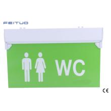Sinal de saída de WC, luz de emergência, sinal de saída de emergência do diodo