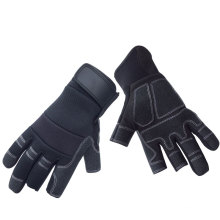 NMSAFETY Mechanical gloves PVC synthetic leather magic buckle cuff abrasion resistant fingerless