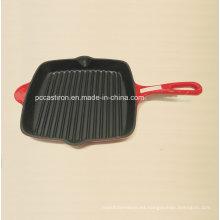Pan de la parrilla del hierro fundido de la fábrica de China 26X26cm