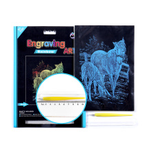 Novelty Horse Family Rainbow Color Foil Engraving Art Pad Kit