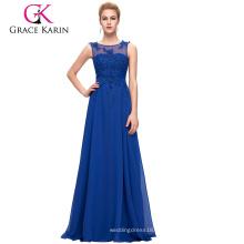 Grace Karin tamaño más sin mangas V-Back azul vestido de noche de gasa para las mujeres gordas CL007555-6