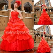 новый стиль красный принцесса бальное платье свадебные платья GP049