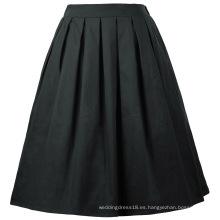 Grace Karin Mujer Vintage retro plisada falda de algodón negro 7 patrones CL010401-6