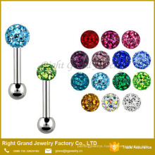 Wholesale 14G Stainless Steel Epoxy Coated Crystal Ball Tongue Barbell Ring