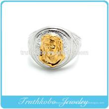 Personalizado de alta calidad 316L quirúrgico venta al por mayor para hombre de acero inoxidable anillo de titanio Jesucristo moda anillo con chapado de oro medio