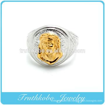 Benutzerdefinierte hohe Qualität 316L chirurgischen Großhandel Herren Edelstahl Ring Titan Jesus Christus Mode Ring mit Mid-Vergoldung