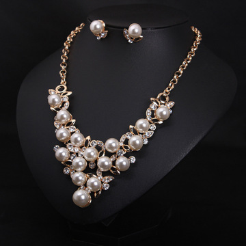 Wedding Gold Pearl Earrings and Necklace Sets