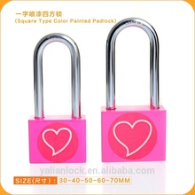 Korea market hot sale square long shackle pink color padlock